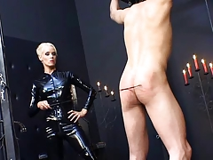 Domina in spandex catsuit tormenting  slave