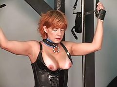 Older fellow tantalizes his redead  and blondie Domination & submission subs on rack