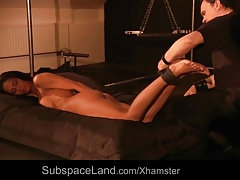 Tormentor climaxes gimp before  cane pain