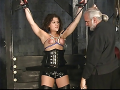 Stellar dark-haired domination & submission marionette gets her lil' tits tortured in the hump dungeon space