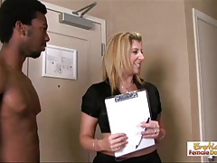 Sarah the   gets  by two dark-hued guy