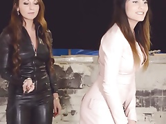julie skyhigh &aida doll dom leather catsuit bdsm