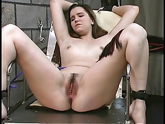 Blindfolded, gagged and chained bondage & discipline brown-haired gets vibrator limited to her clittie