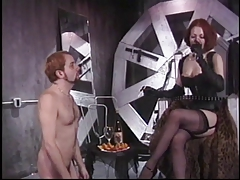 Milky marionette fellow must obey torrid redhead mistress in leather lingerie and garters