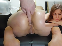 Miss April's getting on all fours enema insertion