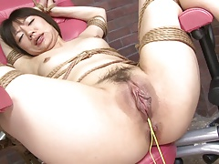 Girl's cock-squeezing puss is ravaged firm with a drill machine