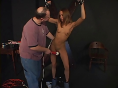 Petite  lady has her fuckbox taunted by her sir