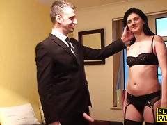 Cumswallowing marionette gets  and legs bound
